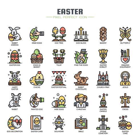 Icone di sottile linea di elementi di Pasqua vettore