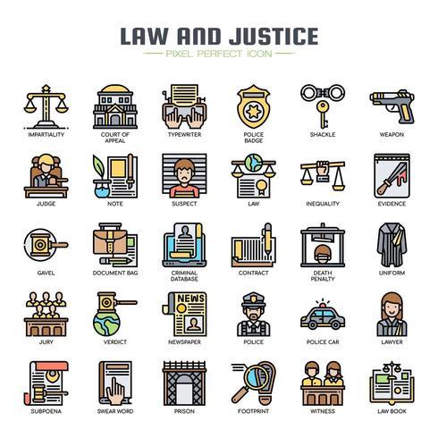 Icone di sottile linea di legge e giustizia vettore
