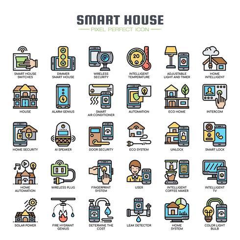 Icone di casa sottile linea intelligente vettore