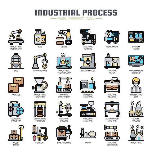 Icone di linea sottile di processo industriale vettore