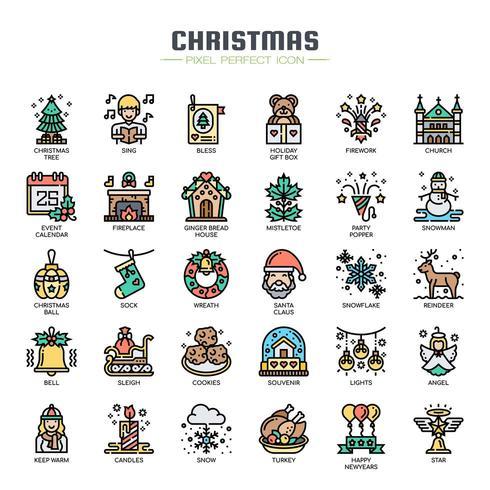 Icone di linea sottile di elementi di Natale vettore