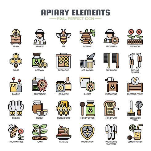 Icone di linea sottile elementi apiario vettore