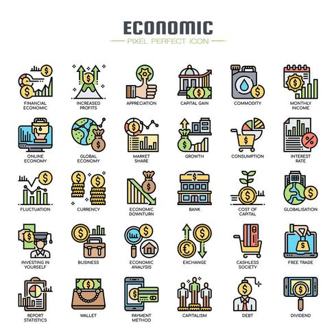Icone di elementi economici linea sottile vettore