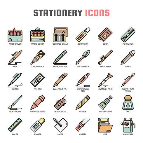 Icone di elementi sottili di elementi di cancelleria vettore