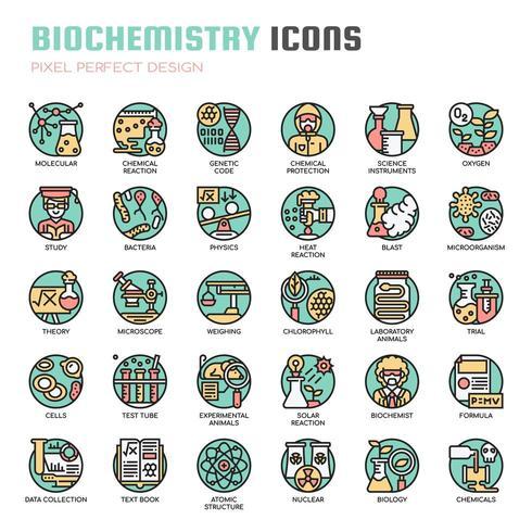 Icone di linea sottile di biochimica vettore