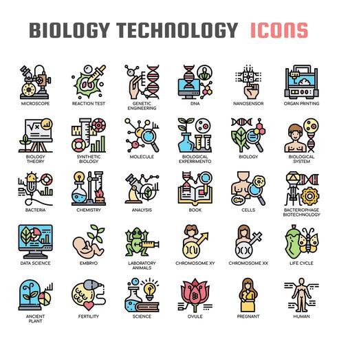 Icone di biologia tecnologia linea sottile vettore
