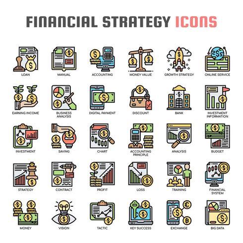 Strategia finanziaria Icone di linea sottile vettore