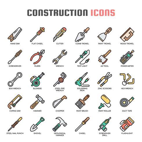 Icone di sottile linea di strumenti di costruzione vettore