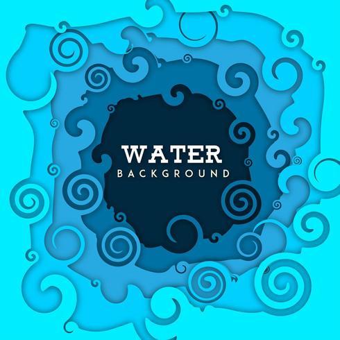 Priorità bassa dell'acqua della natura con effetto tagliato carta vettore