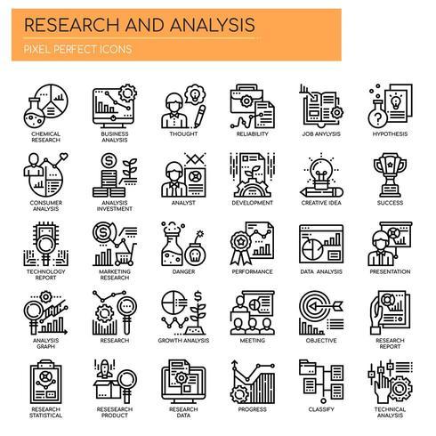 Ricerca e analisi Icone di linea sottile vettore