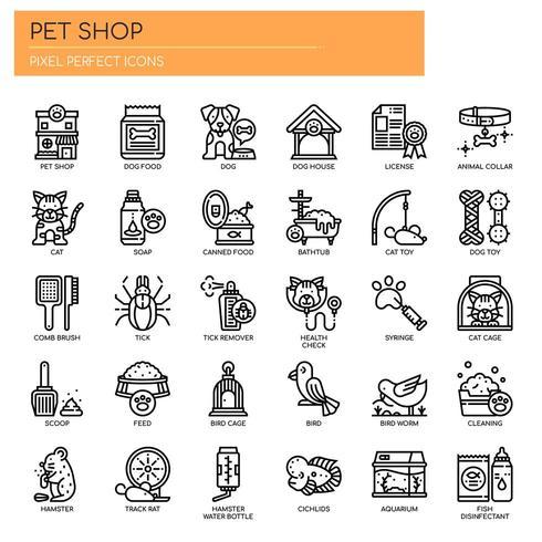 Icone di linea sottile negozio di animali vettore