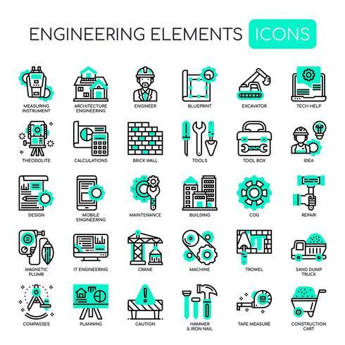 Icone di ingegneria linea monocromatica sottile linea vettore