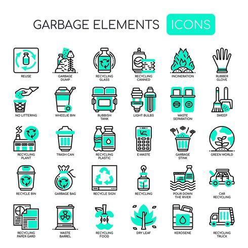 Icone monocromatiche di elementi sottili di immondizia vettore