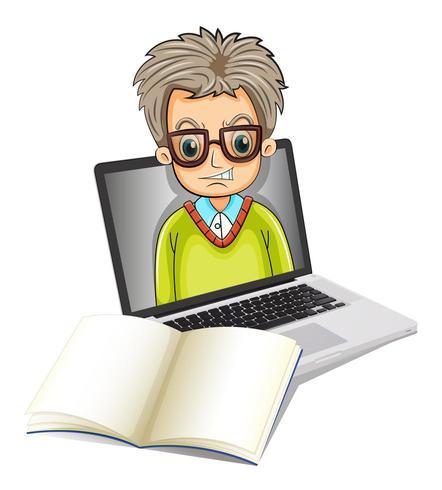 L'immagine di un uomo dentro un computer portatile con un taccuino vuoto vettore