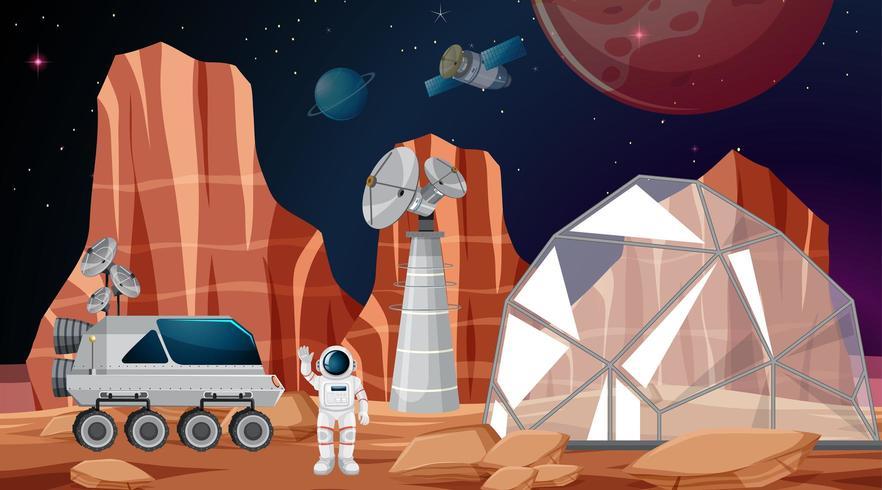 Accampamento nella scena spaziale vettore