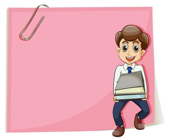 Una carta vuota rosa con un uomo d'affari che trasporta alcuni documenti vettore