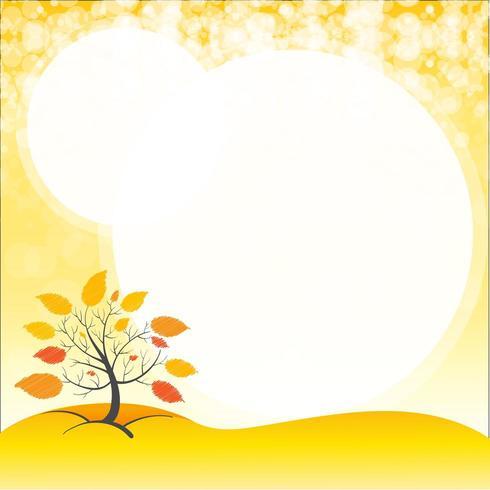 Uno spazio vuoto con un albero in autunno vettore