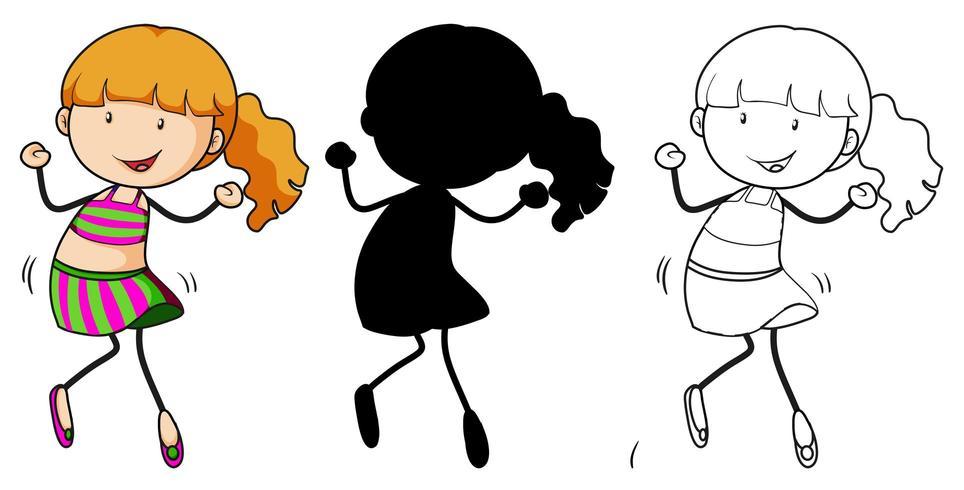 Un set di ragazza che balla a colori, silhouette e contorno vettore