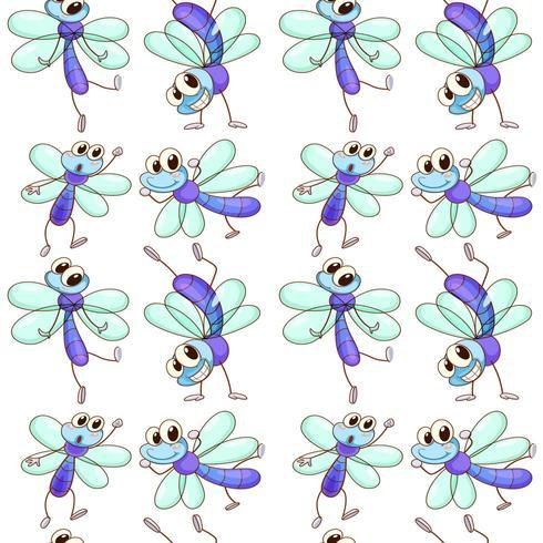 Mattonelle senza cuciture con la libellula del fumetto vettore