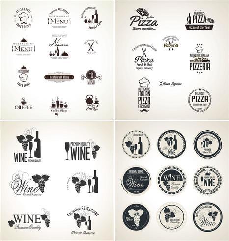 Grande set di etichette per ristorante e caffetteria vettore