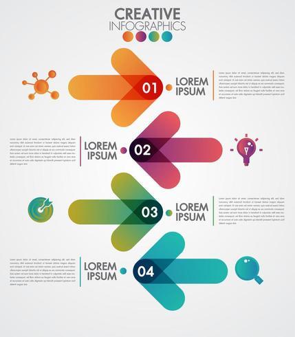 Infografica con frecce colorate e 4 passaggi vettore