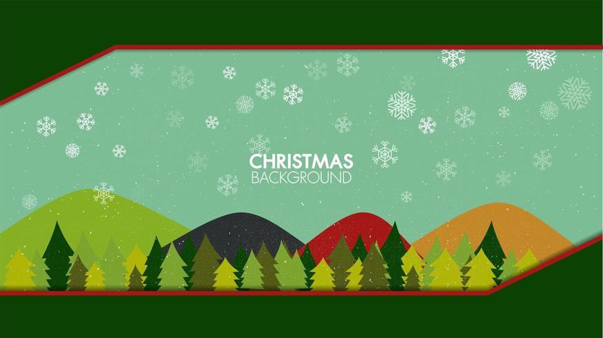 Paesaggio piano di stagione invernale con l'albero di Natale con i fiocchi di neve di caduta vettore