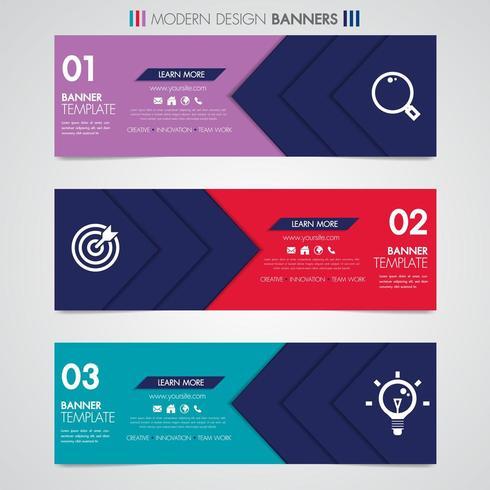 Banner design orizzontale con forme geometriche e icone vettore