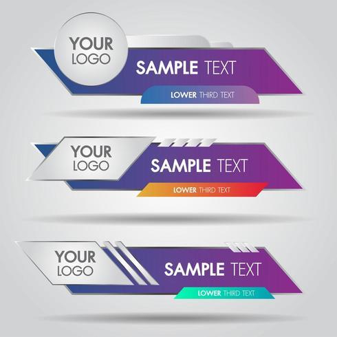 Set di banner inferiore moderno bianco e colorato moderno contemporaneo di affari vettore