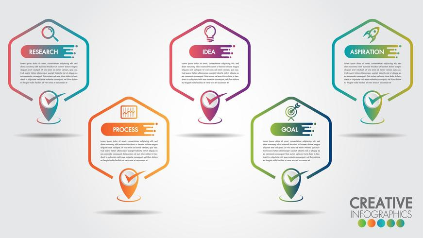 Infografica di affari Esagono 5 passaggi e icone di affari vettore