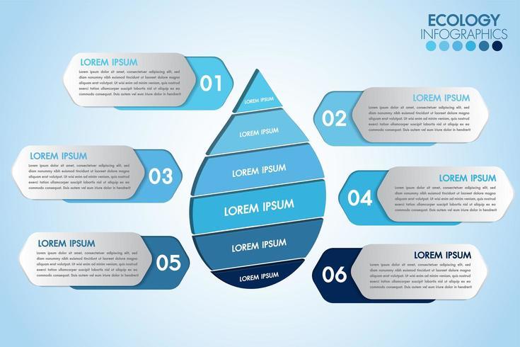 Infografica eco goccia d'acqua con 6 passaggi vettore