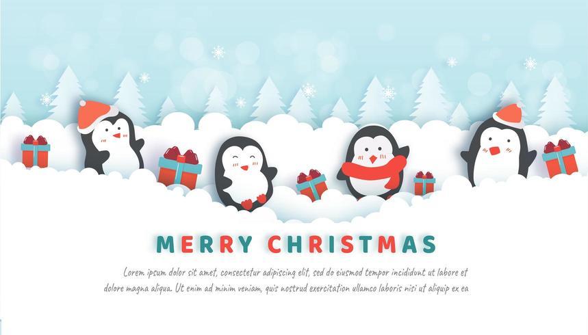 Celebrazioni di Natale con simpatici pinguini nella foresta di neve. vettore