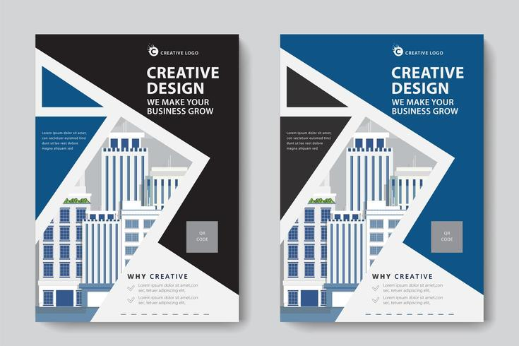 Modello di affari corporativi ad angolo nero e blu vettore