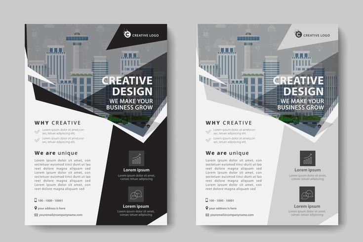 Modello di affari corporativi ad angolo nero e grigio vettore