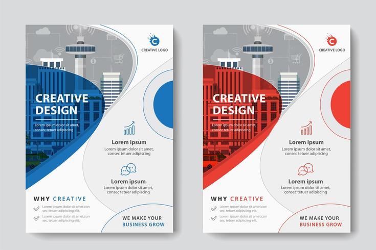 Modello di affari corporativi di progettazione circolare rossa e blu vettore