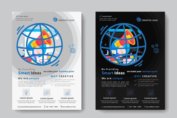 Modello di business aziendale con megafono a forma di globo vettore