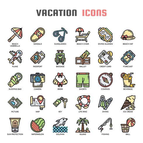 Icone perfette per vacanze e pixel vettore