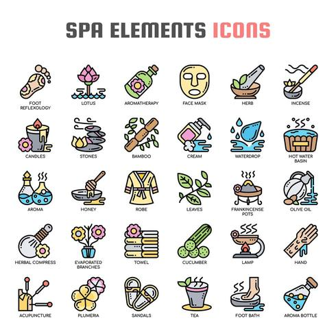 Icone Spa linea sottile icone vettore