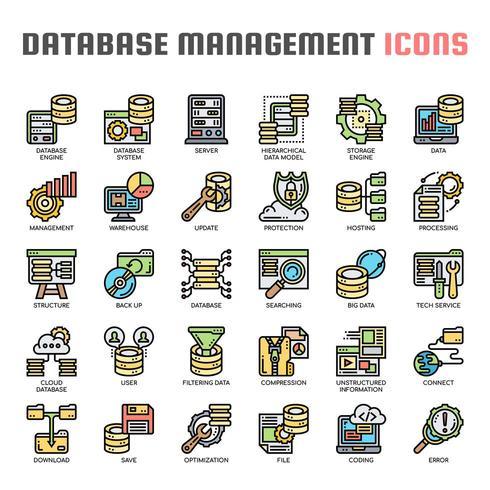 Icone di linea sottile di gestione database vettore