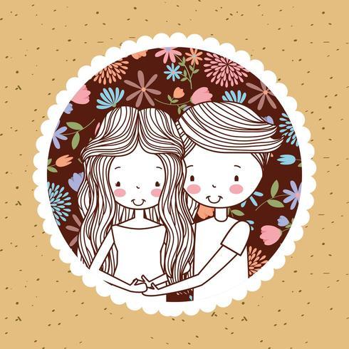 simpatico ritratto vintage di coppia incinta con fiori vettore