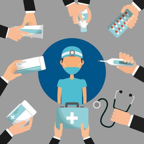 medico circondato da mani in possesso di farmaci e articoli medici vettore