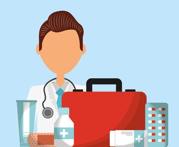 operatore sanitario con medicina e attrezzature vettore