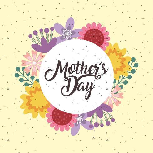 carta di giorno di madri con fiori e sfondo maculato vettore