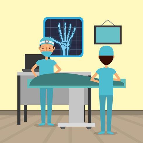 operatori sanitari che utilizzano macchine a raggi x vettore