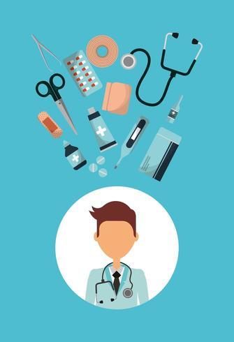 professionista sanitario con attrezzatura medica vettore