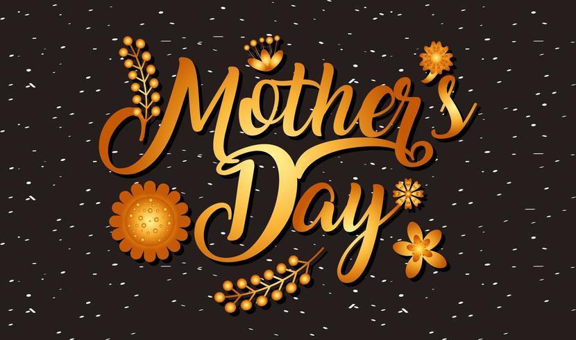 carta di giorno di madri con testo sfumato oro ed elementi floreali vettore