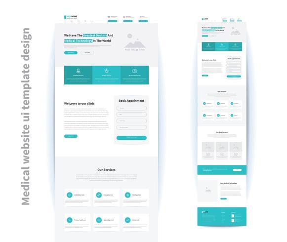 progettazione del modello dell'interfaccia utente medica sito Web vettore