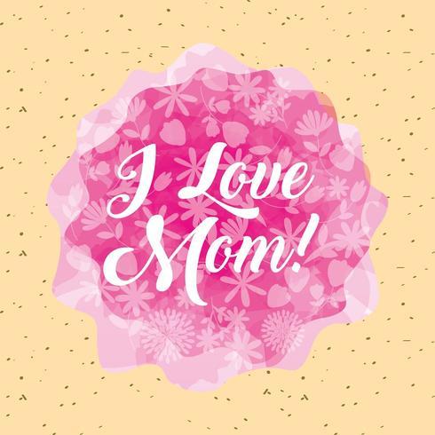 Biglietto festa della mamma con forme astratte rosa, motivo floreale e testo I Love Mom vettore