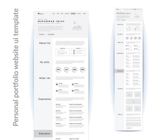 modello di progettazione dell'interfaccia utente del sito Web del portfolio personale vettore