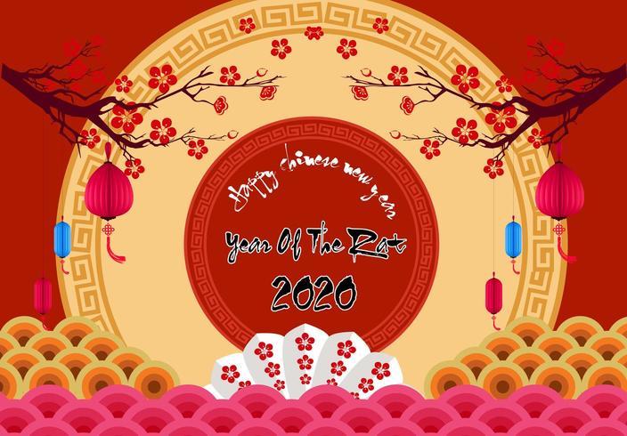 Capodanno cinese 2020 anno del ratto. fiori ed elementi asiatici. vettore