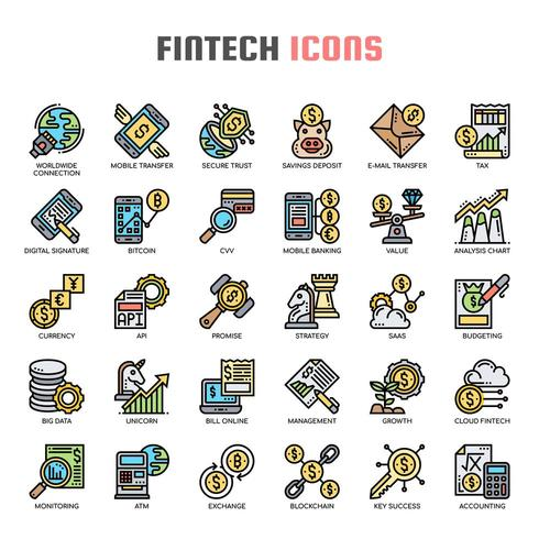 Icone di linea sottile Fintech vettore